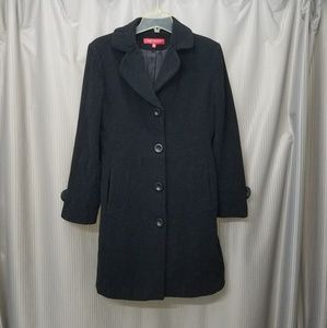 Black Anne Klein wool trench coat